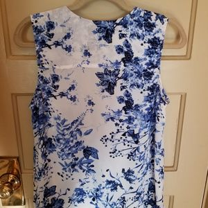 The Limited Tops - Blue and white floral blouse by The Limited